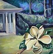 Magnolia In Moonlight Art Print by Ellen Howell