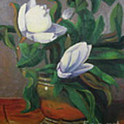 Magnolias On Brass Art Print by Lilibeth Andre