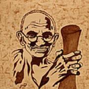 Mahatma Gandhi Coffee Painting Art Print