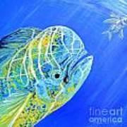 Mahi Mahi And Flying Fish Art Print
