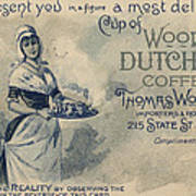 Maid Serving Coffee Advertisement For Woods Duchess Coffee Boston  Art Print