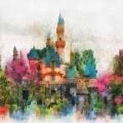 Main Street Sleeping Beauty Castle Disneyland Photo Art 01 Art Print