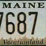 Maine License Plate Art Print