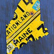 Maine License Plate Map Vintage Vacationland Motto Art Print