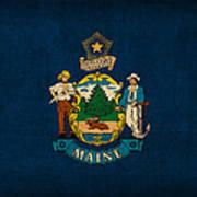 Maine State Flag Art On Worn Canvas Art Print