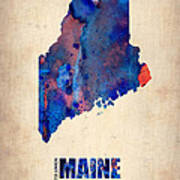 Maine Watercolor Map Print by Naxart Studio