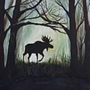 Majestic Bull Moose Art Print by Leslie Allen