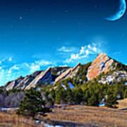 Majestic Flatirons Of Boulder Colorado With Big Moon Art Print