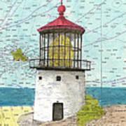 Makapuu Lighthouse Oahu Hi Nautical Chart Map Art Art Print