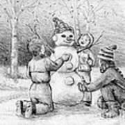 Making A Snowman Art Print