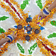 Making Rangoli With Flower Petals And Oil Lamps Art Print by Tim Gainey