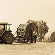 Farm - Tractor - Hay - Making The Drop Art Print