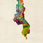 Malawi Watercolor Map Art Print