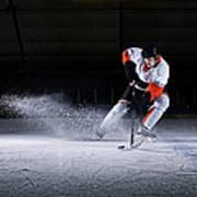 Male Ice Hockey Player Taking Puck Art Print