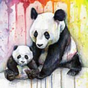 Panda Watercolor Mom And Baby Art Print