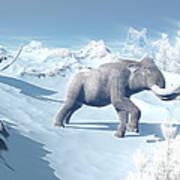 Mammoths Walking Slowly On The Snowy Art Print