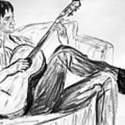 Man And Guitar Art Print