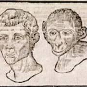 Man And Monkey's Head Art Print