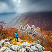 Man And The Mountain Art Print by Evgeni Dinev