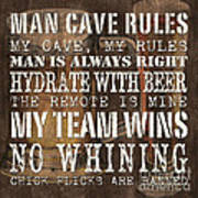 Man Cave Rules Square Art Print