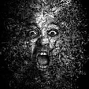 Man Eyes Face Horror Portrait Black And White  Art Print