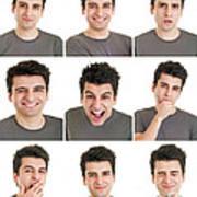 Man Face Expressions Art Print