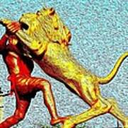 Man Fighting With Lion Bravery Art Print