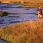 Man Fly Fishing On The Owens River Art Print