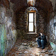 Man In Abandoned Building Art Print