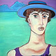 Man In Blue Hat Art Print