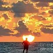 Man In Sunrise Art Print