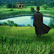 Man In Top Hat On A Hill Art Print