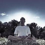 Man Meditating In The Nature During Sunrise Art Print