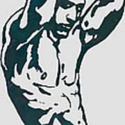 Man Nude Pop Stylised Etching Art Poster  Art Print