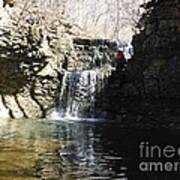 Man On A Waterfall Ledge Art Print