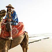Man On Camel On Beach, Taghazout Art Print