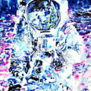 Man On The Moon - Watercolor Portrait Art Print
