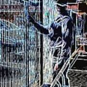 Man Painting Fence / Crayola Effect Art Print