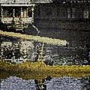 Man Plying Wooden Shikara In Dal Lake Art Print