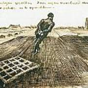 Man Pulling A Harrow Art Print