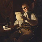 Man Reading By Candlelight Art Print
