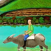 Man Riding A Carabao Art Print