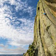 Man Rock Climbing At Devils Tower Art Print