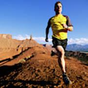 Man Running In Moab, Utah Art Print