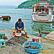 Man Selling Fresh Mussels On The Bosporus In Istanbul-turkey  Art Print