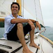 Man Smiling On Sailboat, Casco Bay Art Print