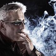 Man Smoking Cigarette Art Print