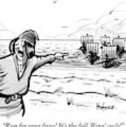 Man Standing On The Beach Screams As A Fleet Art Print