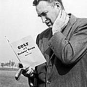 Man Studying A Golf Book Art Print