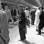 Man Waits In Heuston Station Dublin Art Print